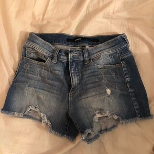 Francesca Harper distressed jean shorts
